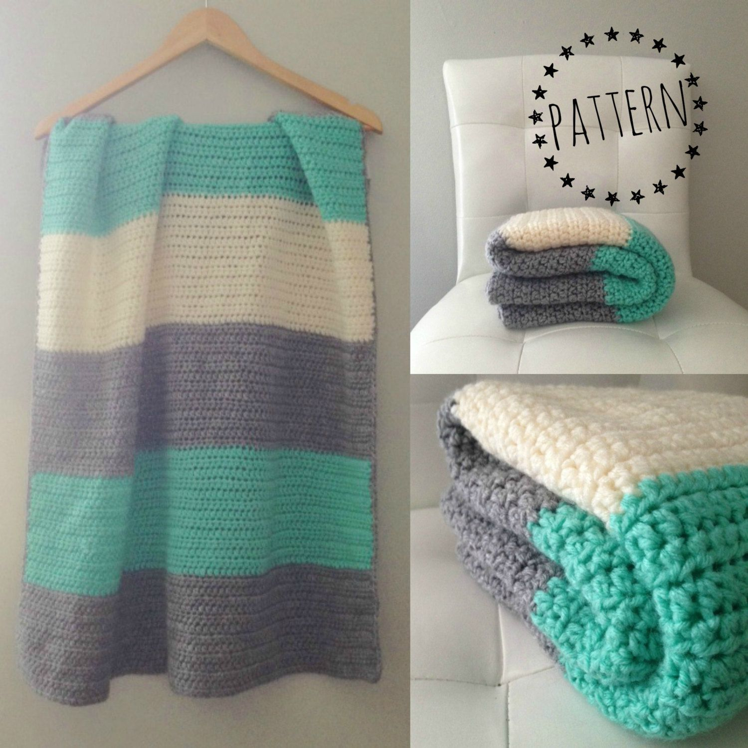 Crochet Color Block Blanket Pattern catandcrown 3.75 CAD October 16 ...