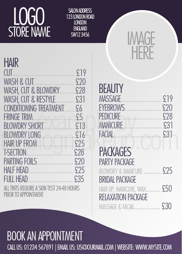 Beautifully designed menus and price lists for salons salon - Price Sheet Template
