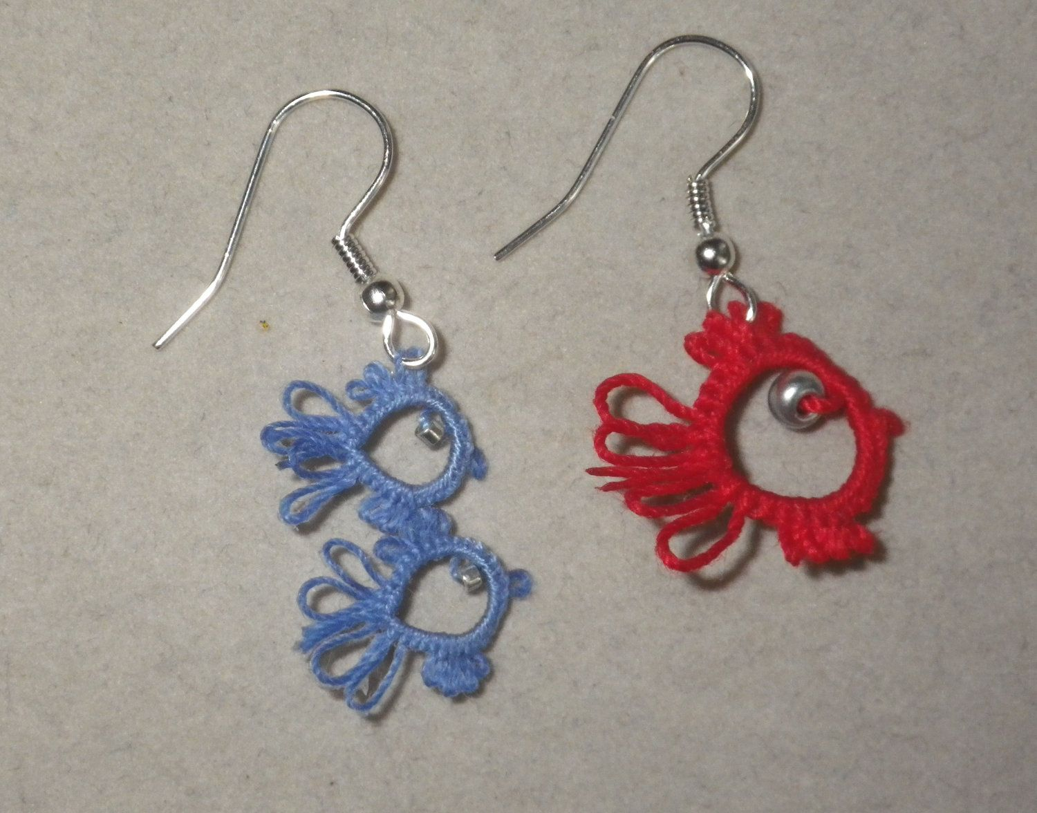 One Fish Two Fish tatted earrings, tatting, Dr. Seuss, lightweight ...