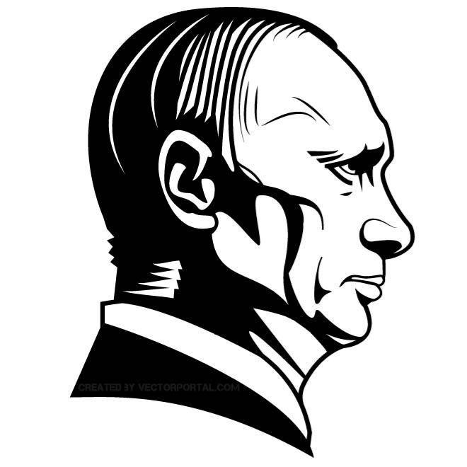 Vector illustration of a Russian president Vladimir Putin.