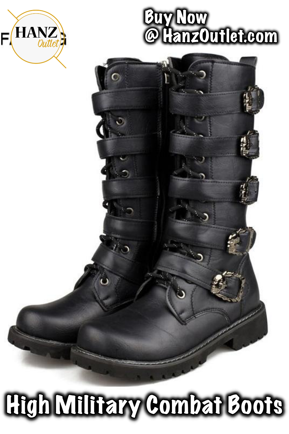 5933cb570620 Men Army Boots High Military Combat Boots Metal Buckle Punk Mid-calf Male  Motorcycle Boots Lace Up Men s Shoes Rock  MenArmyBoots  ArmyBoots ...