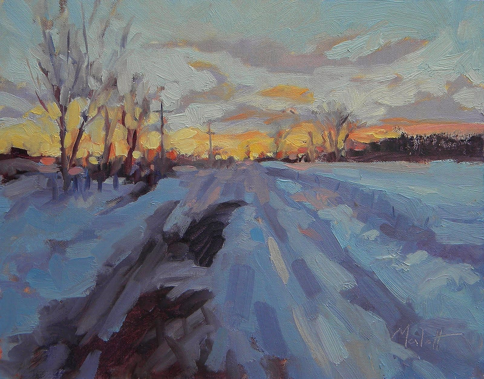 Sunset Winter Landscape 11 X14 Snow Impressionism Contemporary Clouds Oil Painting Winter Landscape Oil Painting Landscape Winter Painting