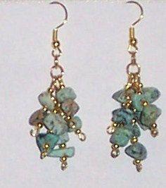 EARRINGS CHRYSACOLA gemstone nuggets dangle by rankaswedding, $20.00