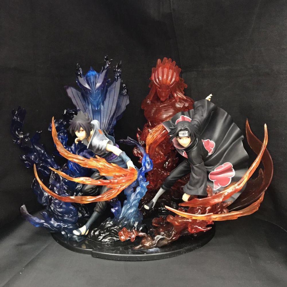 Naruto Itachi Uchiha Sasuke Garage Kits Flame Style Combination