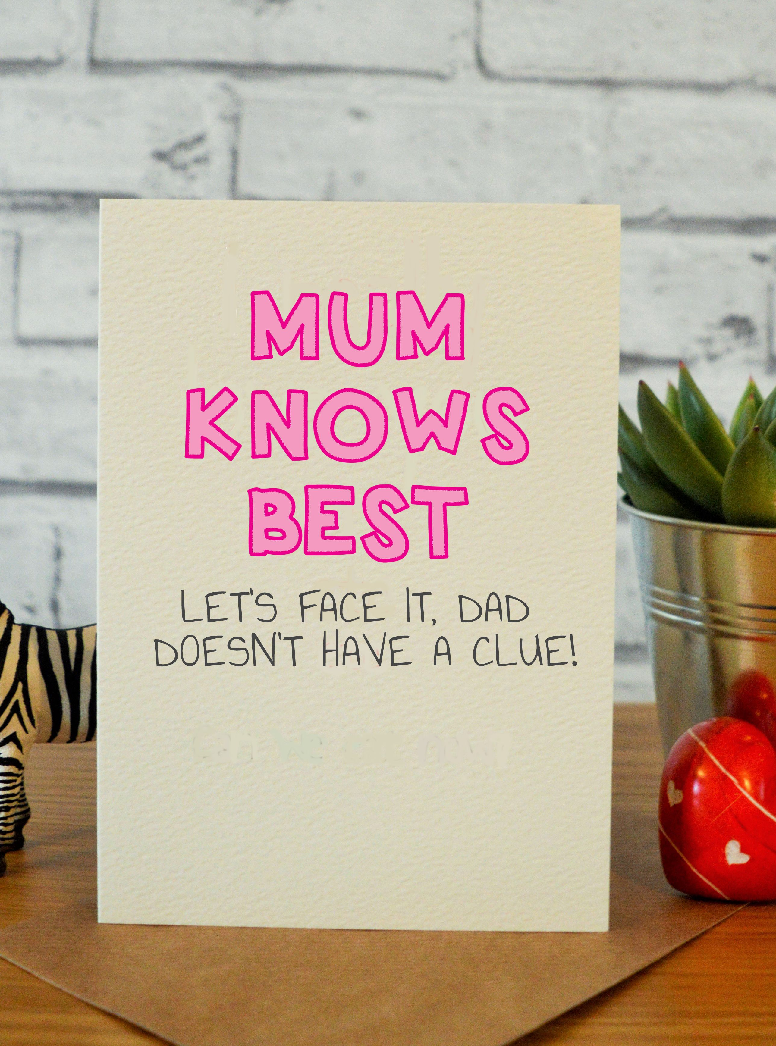 Mum knows best etsy handmade funny birthday and mom gifts