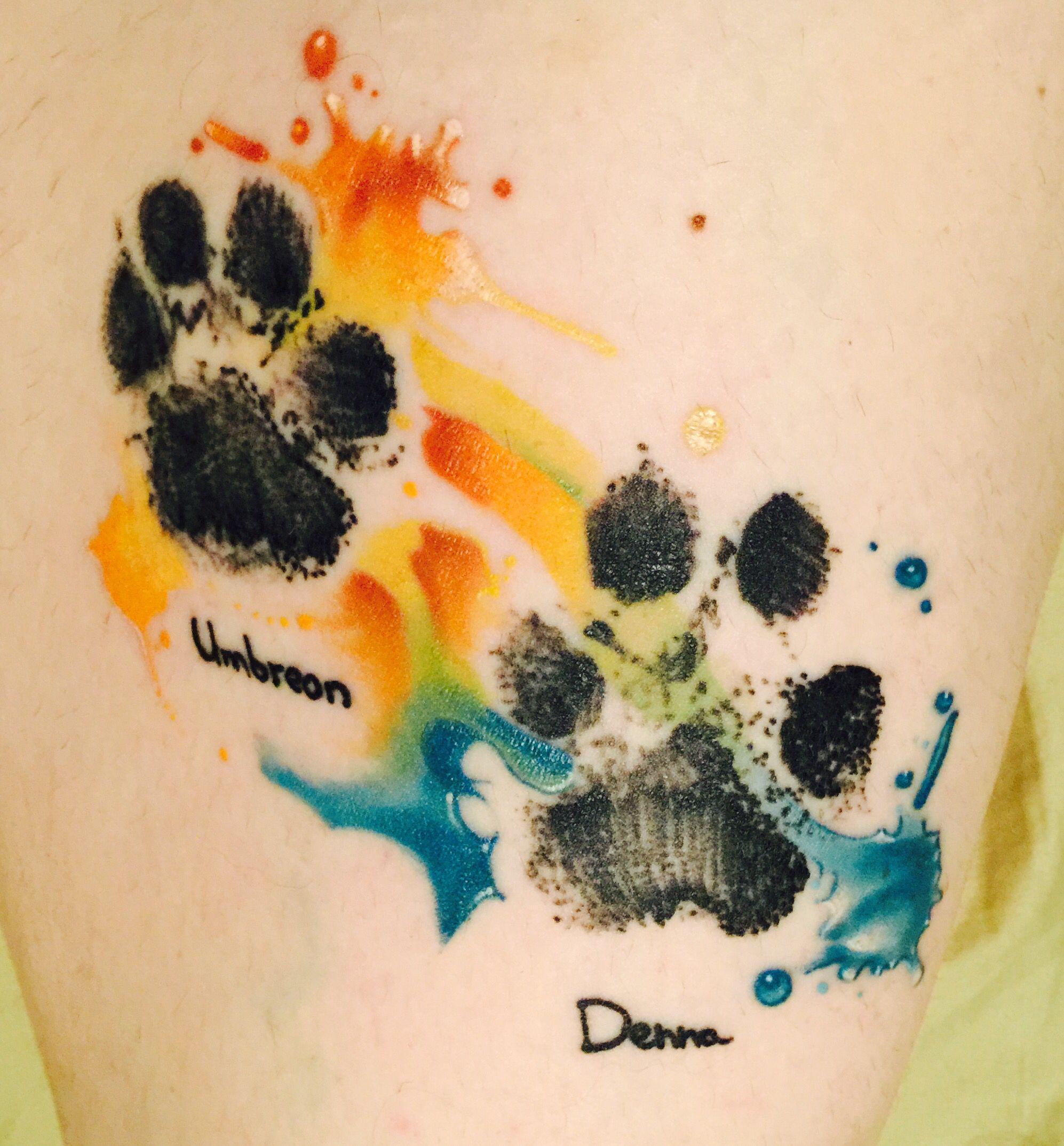 Watercolor Paw Print Tattoo Pawprint Tattoo Dog Tattoos Cute