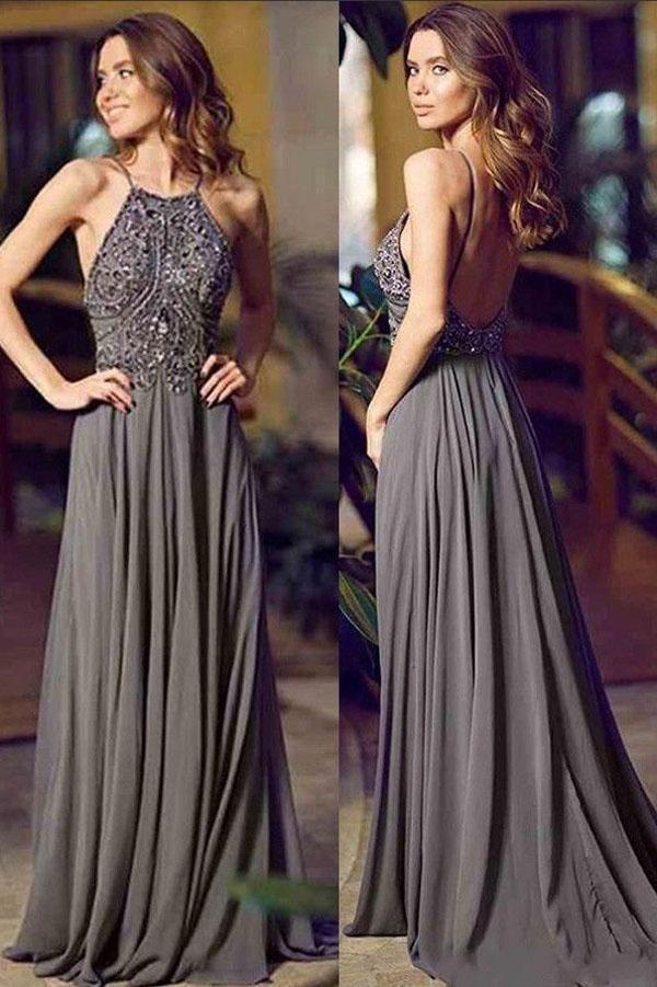 46fd73d134 Gray A Line Floor Length Halter Sleeveless Backless Beading Prom Dress