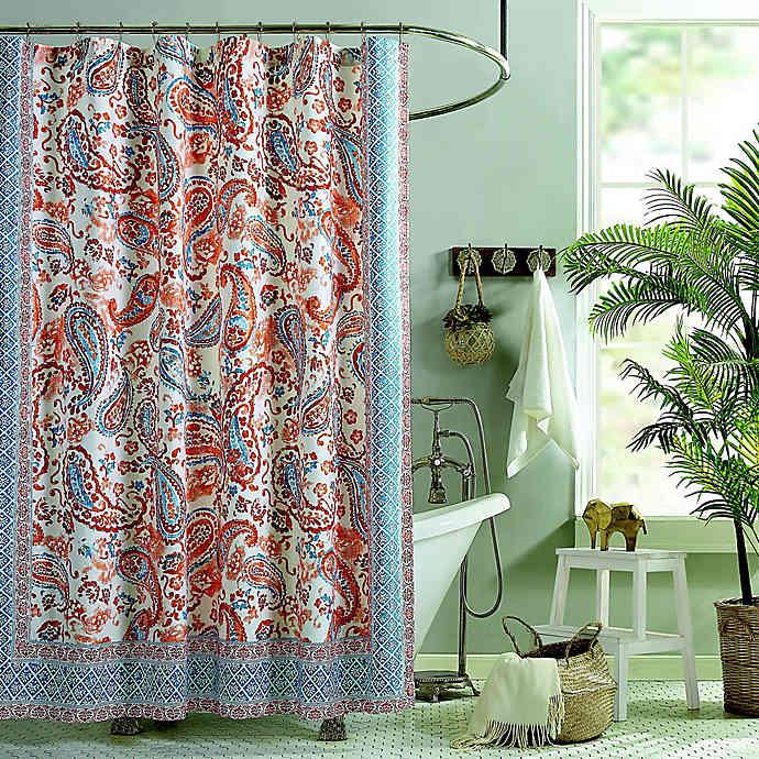 Jessica Simpson Caicos Shower Curtain In Coral Jessica Simpson