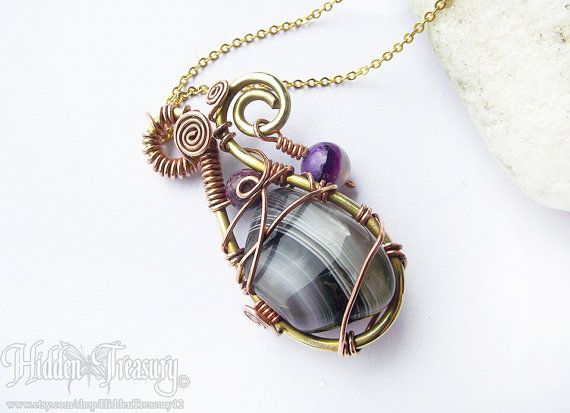 Spellbinder Gemstone Pendant handmade wire by HiddenTreasury12  https://www.etsy.com/shop/HiddenTreasury12?ref=hdr_shop_menu