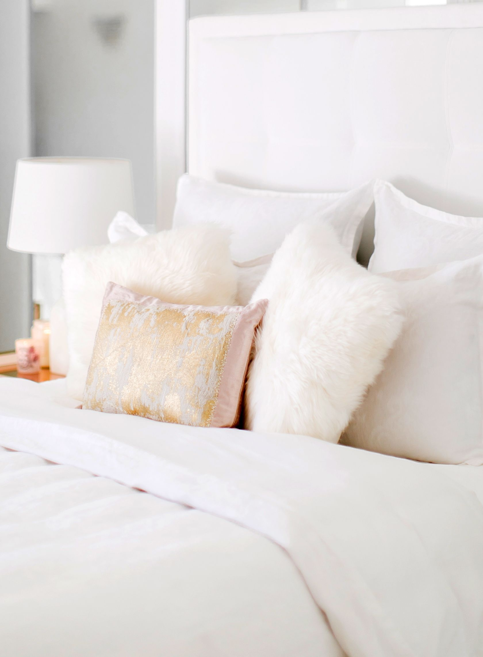 Sydne Style Shares Bedroom Decorating Ideas With Ugg Fluffy Pillow And Blush Gold Decorative Pillows Fluffypillow