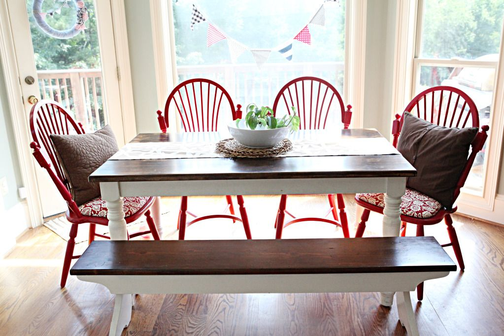 painted red chairs, refinished table and bench
