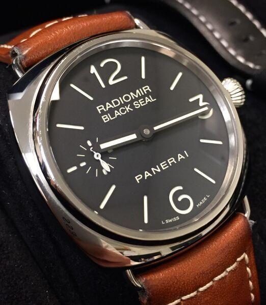 PANERAI RADIOMIR BLACK SEAL ACCIAIO / PAM00183 / 45MM / BLACK / 2 STRAPS / STEEL #Panerai