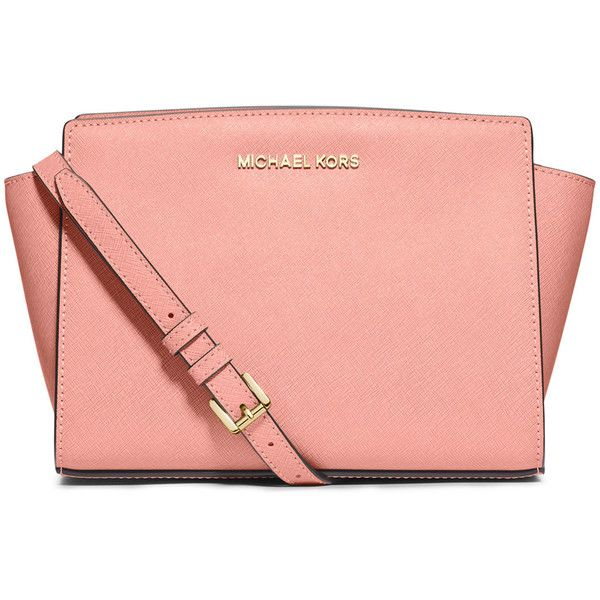 MICHAEL Michael Kors Selma Medium Saffiano Messenger Bag (£160) ❤ liked on Polyvore featuring bags, messenger bags, pale pink, courier bag, messenger bag, michael michael kors, monogrammed messenger bags and zip top messenger bag