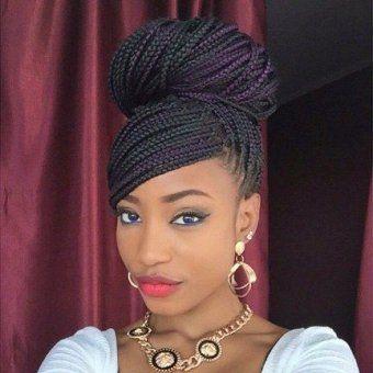tresses africaines box braids chignon meche sur le cote long braids pinterest tresses box. Black Bedroom Furniture Sets. Home Design Ideas