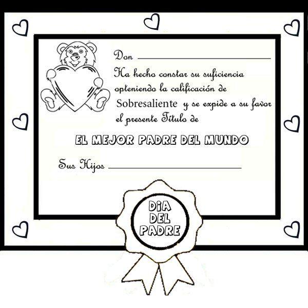 Dibujos para pintar. Diploma al mejor papá | Nana | Pinterest | Dia ...