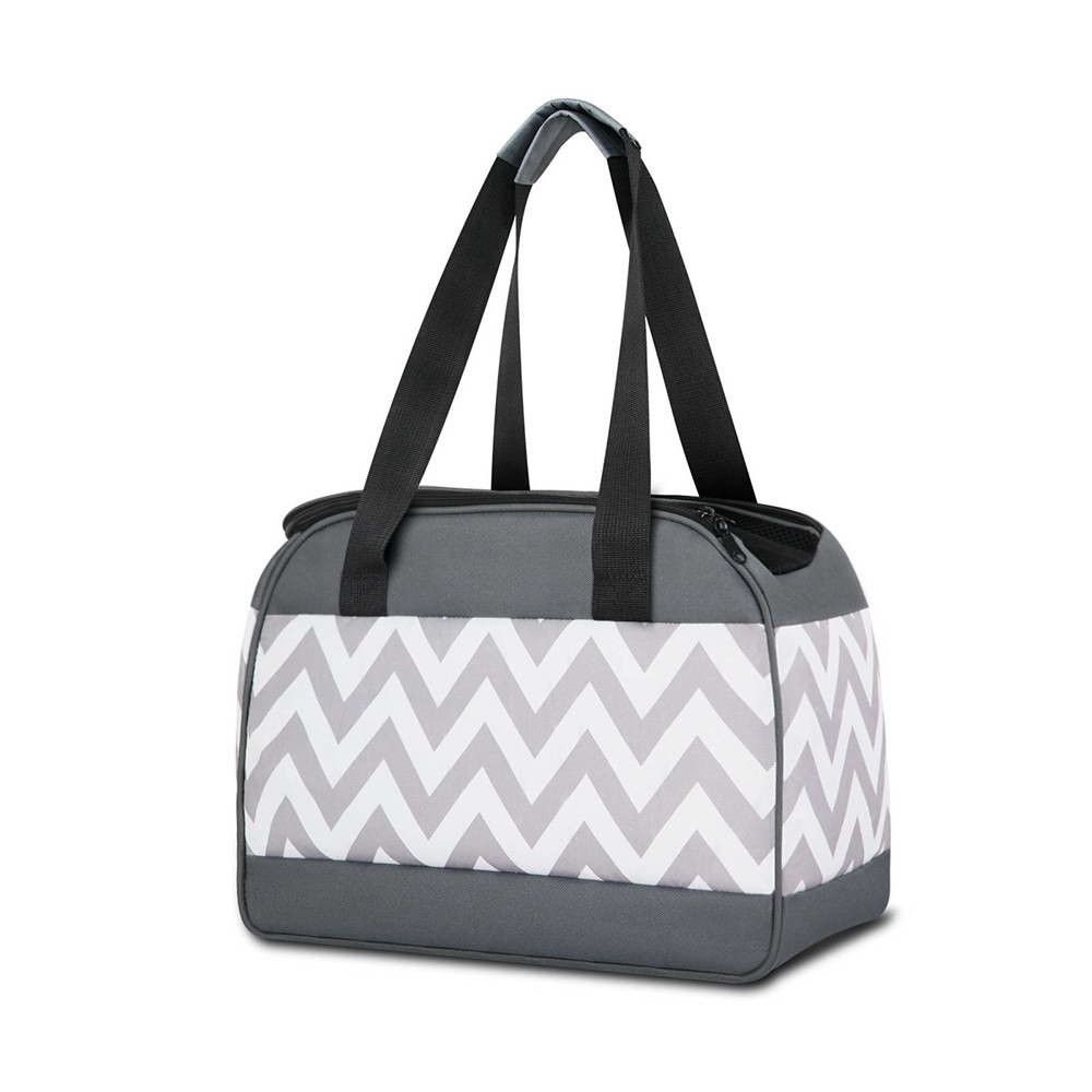 Pet Carrier Handbag For Puppy Cat Dog Stylish Folding Carry Bag For Travelling Vet Car In Grey And White Pet Carriers Crate Carrier Dog Crate