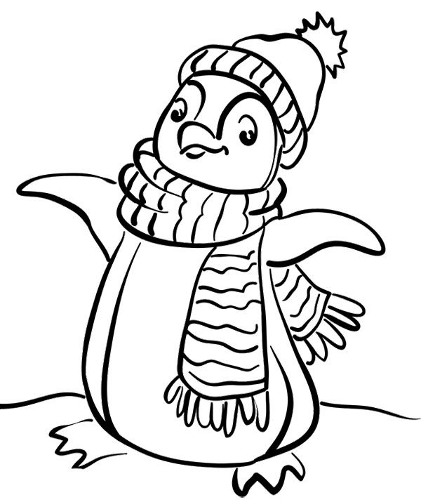 Penguin Wear A Scarf Coloring Page Snowman Coloring Pages Penguin Coloring Pages Coloring Pages Winter