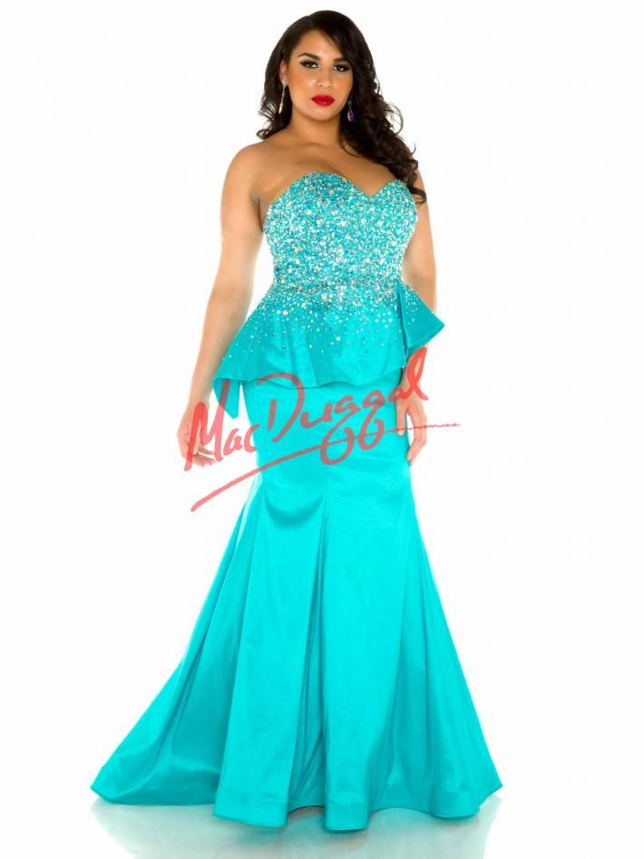 Seafoam Blue Prom Dress | Plus Size Peplum Gown | Mac Duggal 76773F ...