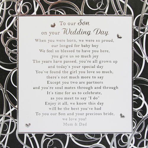 Wedding Gift Card Quotes: To Our Son Wedding Day Card