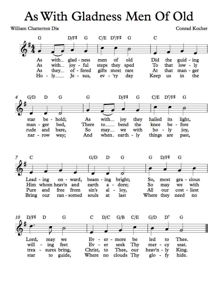 Free Lead Sheet As With Gladness Men Of Old Free Sheet Music