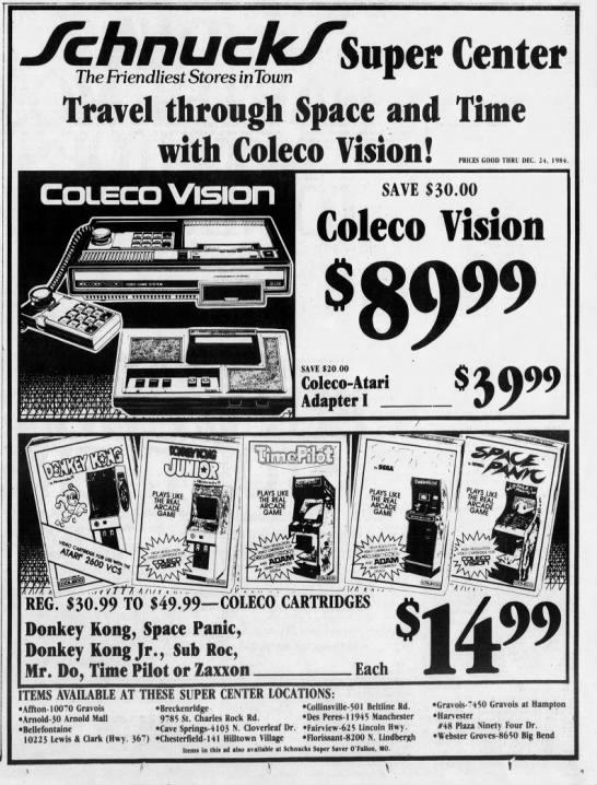Coleco Vision At Schnuck S 1984 In 2020 Schnucks St Louis Louis