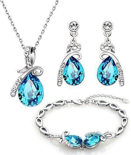 43551d27db59 Comprar Ofertas de NEOGLORY Conjunto de Joya Collar Pulsera Pendientes con  GENUINOS CRISTALES SWAROVSKI AZULES Joya Original Mujer barato.