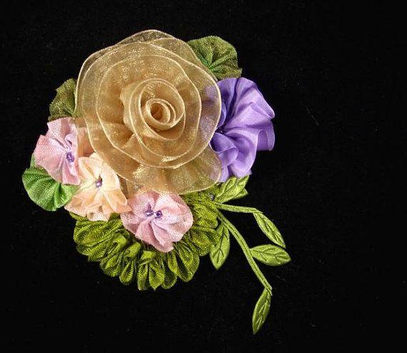 Vintage Inspired Millinery Ribbon Flower Pin by WaywardWomen, $20.00