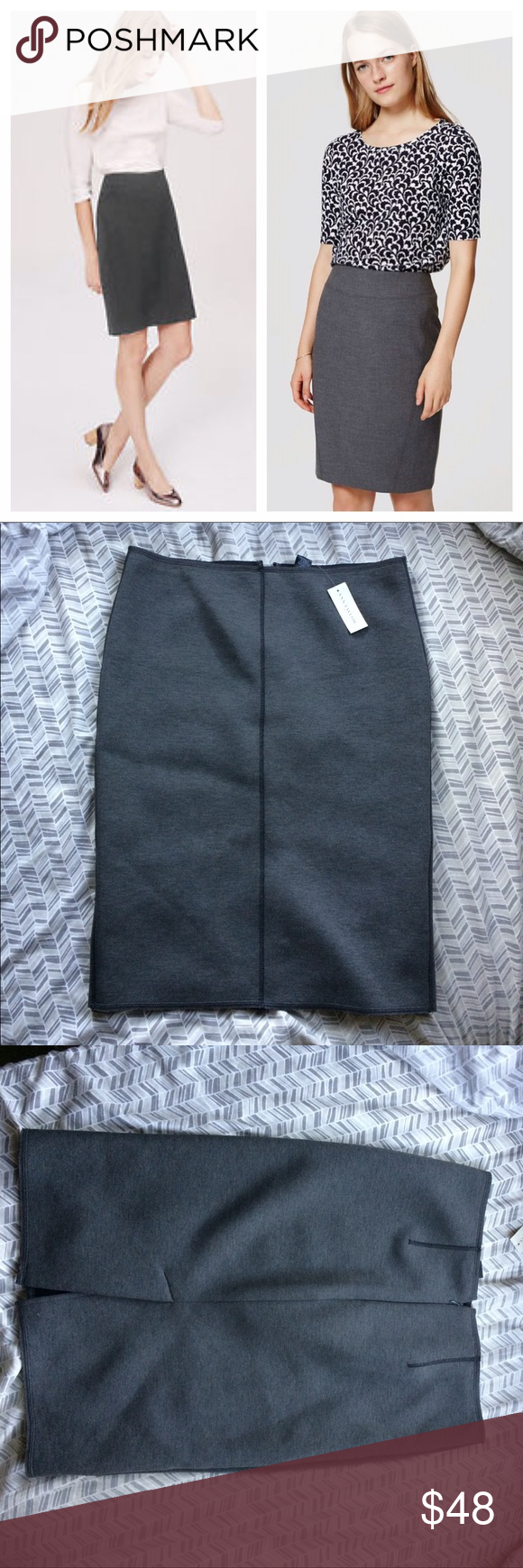 """NEW Ann Taylor scuba pencil skirt Brand new with tags! This is such a cute piece either for work, or even for a night out. Sorry I don't model. The skirt is very slightly different from the stock photo since I couldn't find an exact stock photo. Dark gray stretchy scuba material pencil skirt. Back kick pleat. Modern edgy exposed seam detailing. Polyester, rayon and spandex. Waist is stretchy. Length 24"""" waist flat across 17"""" hips flat across 20"""" bust stretches to fit the body when worn. Ann…"""