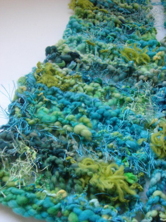 RESERVED Aqua Lime Explosion Scarf by loopyknitsboutique on Etsy