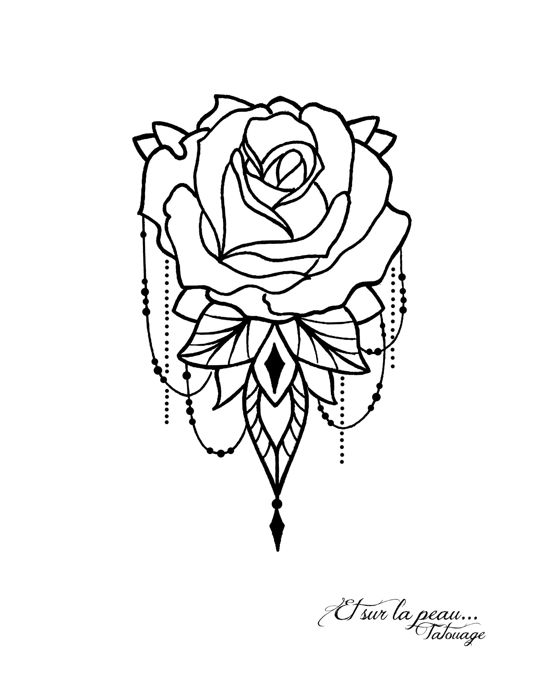 rose henn bijoux mod le de tatouage ornemental rose. Black Bedroom Furniture Sets. Home Design Ideas