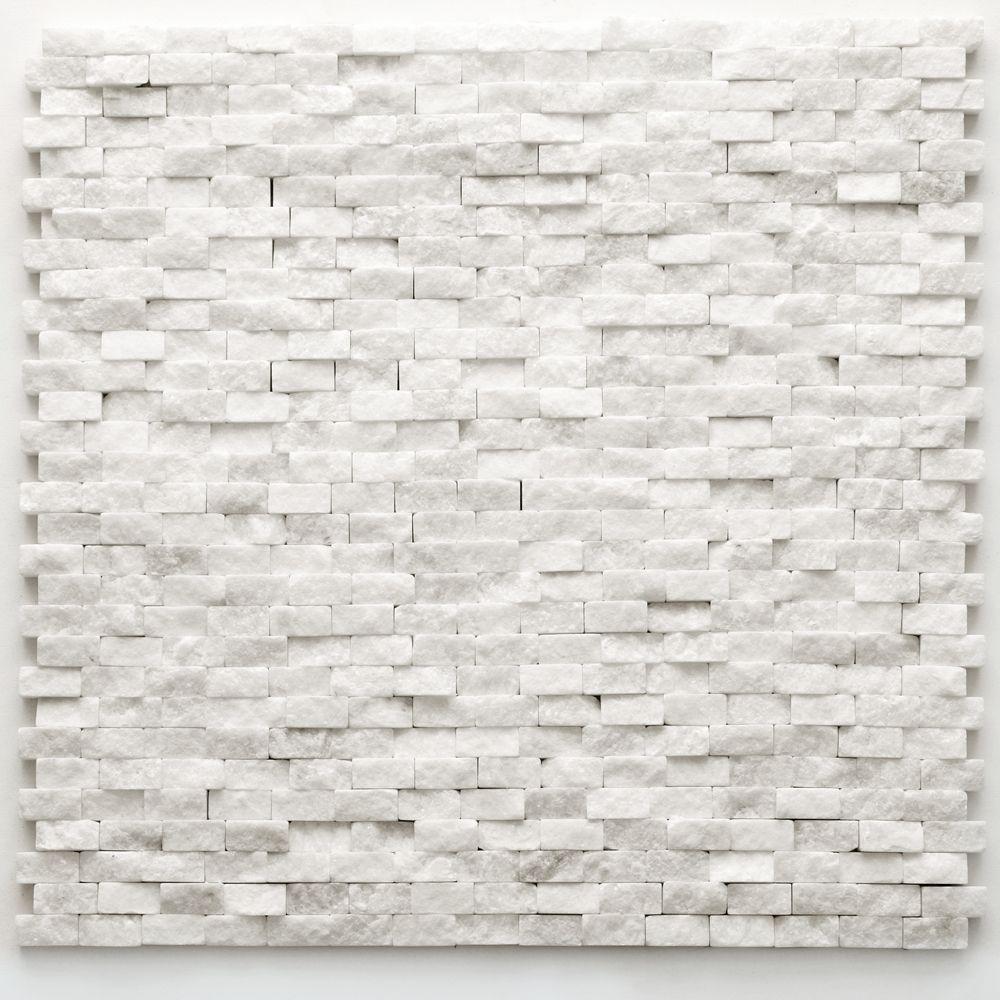 Solistone Unique Shapes White Natural Stone Tile Tumbled 4022