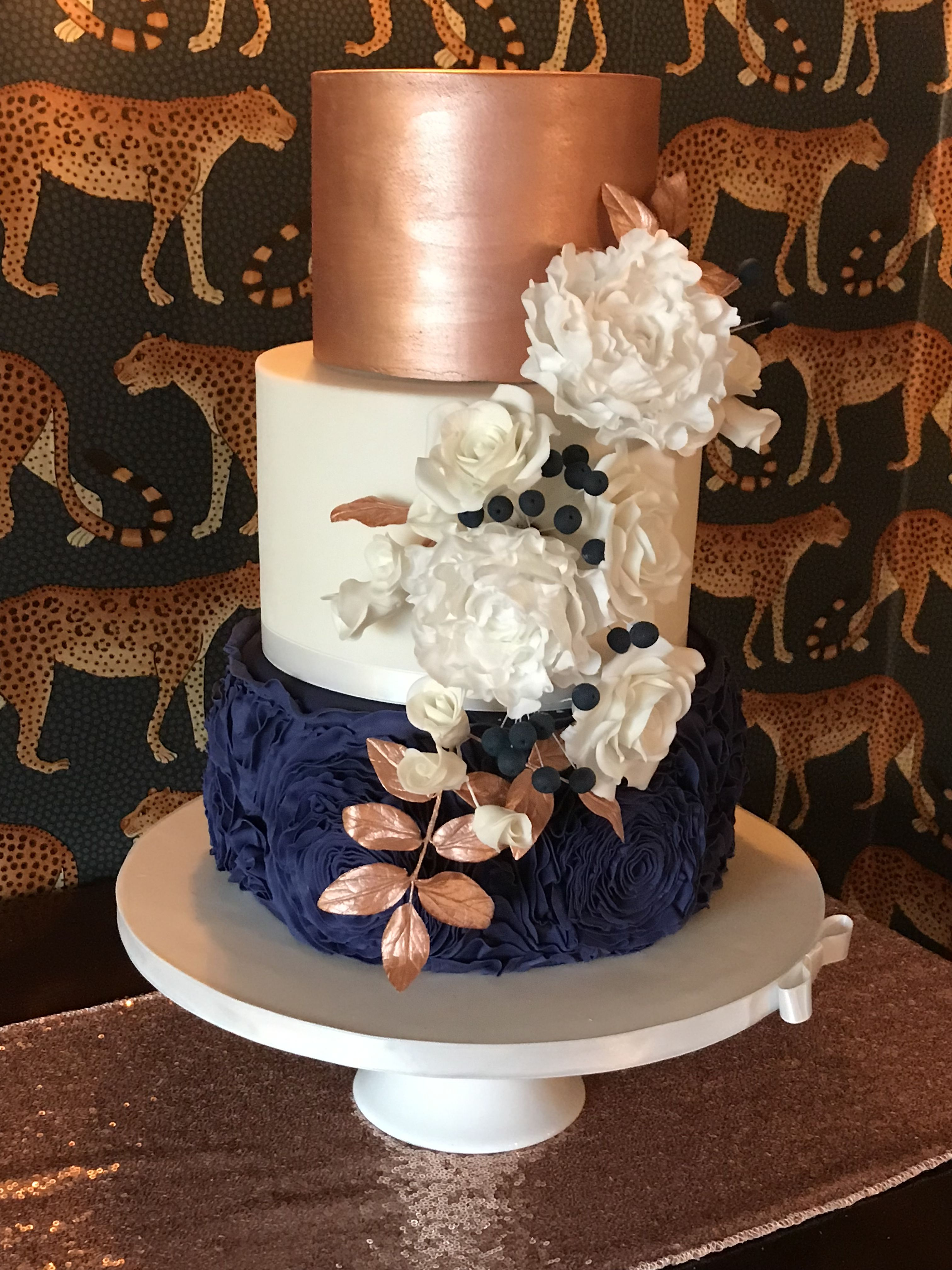 Rose Gold And Navy Blue Wedding Cake Coordinating Sugar Flowers