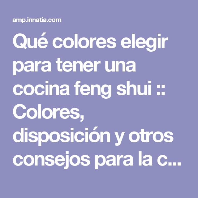 Qué colores elegir para tener una cocina feng shui :: Colores ...
