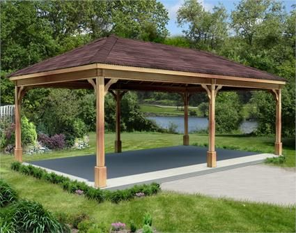12 X 24 Cedar Ramada Outdoor Pavilion Outdoor Pavillion Pavillion Backyard