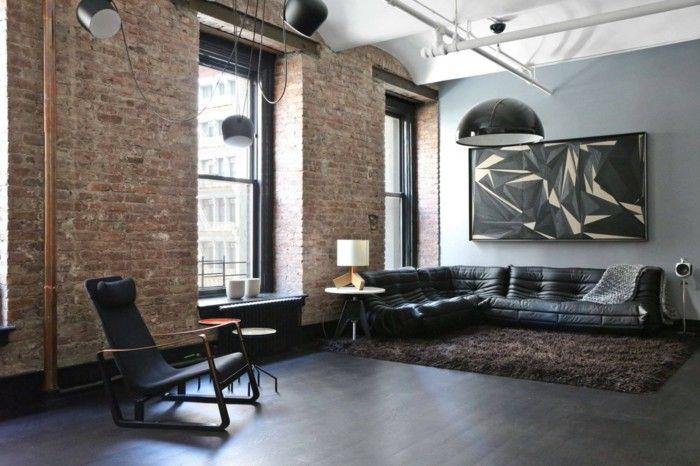 Lampenset Wohnzimmer ~ Wohnzimmer lampe industrieller einrichtungsstil brauner teppich