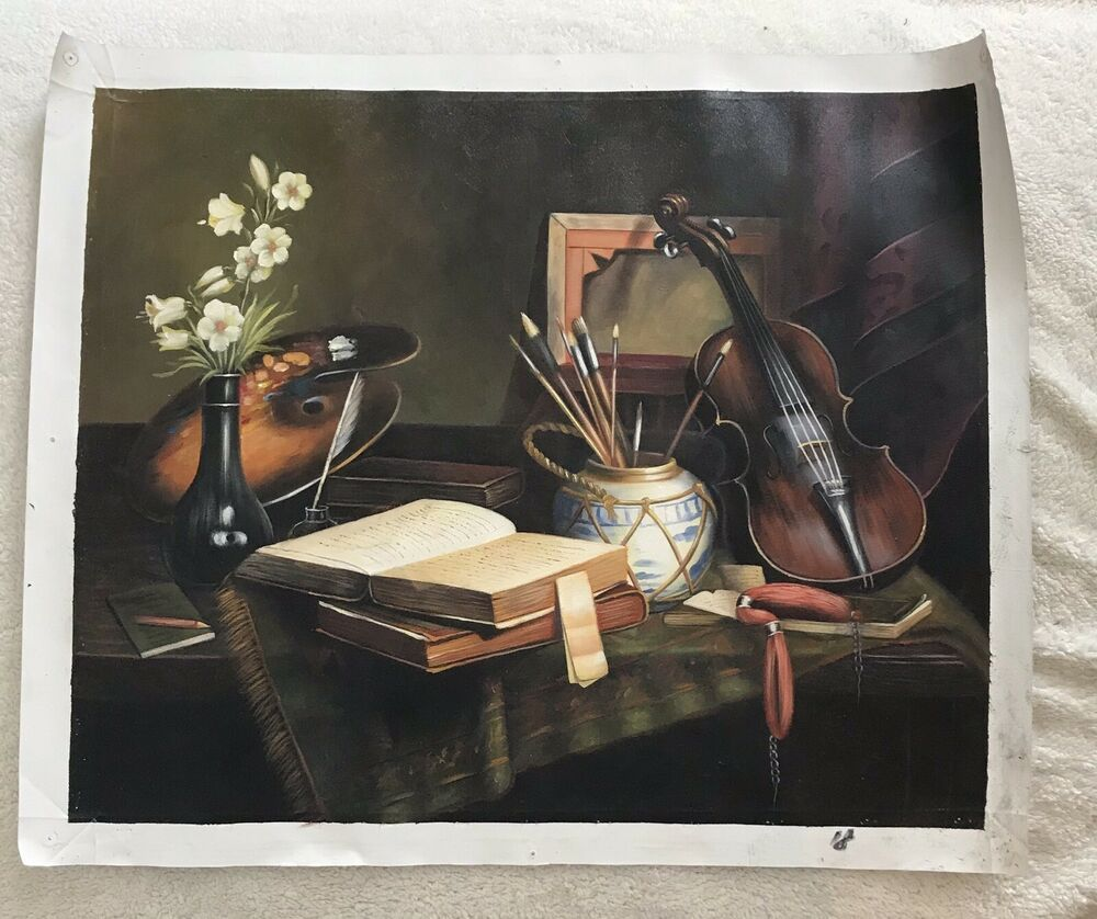Museum Of Art Painting Of Violin And Books Etc On A Table