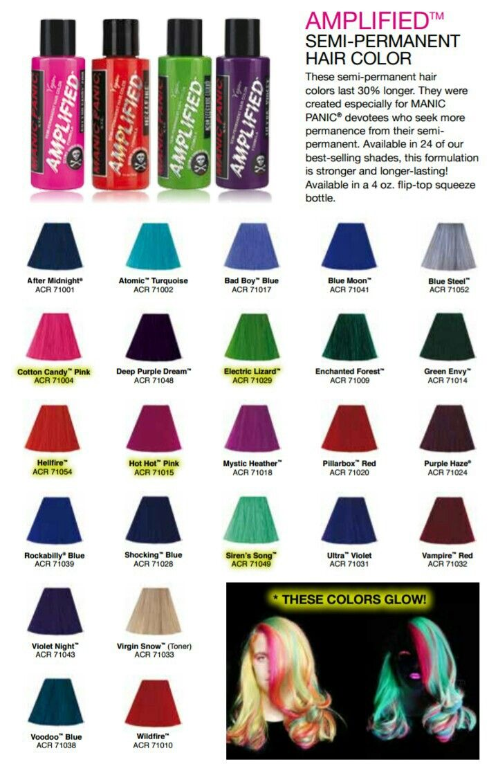 Manic panic amplified color chart new hair in 2018 pinterest