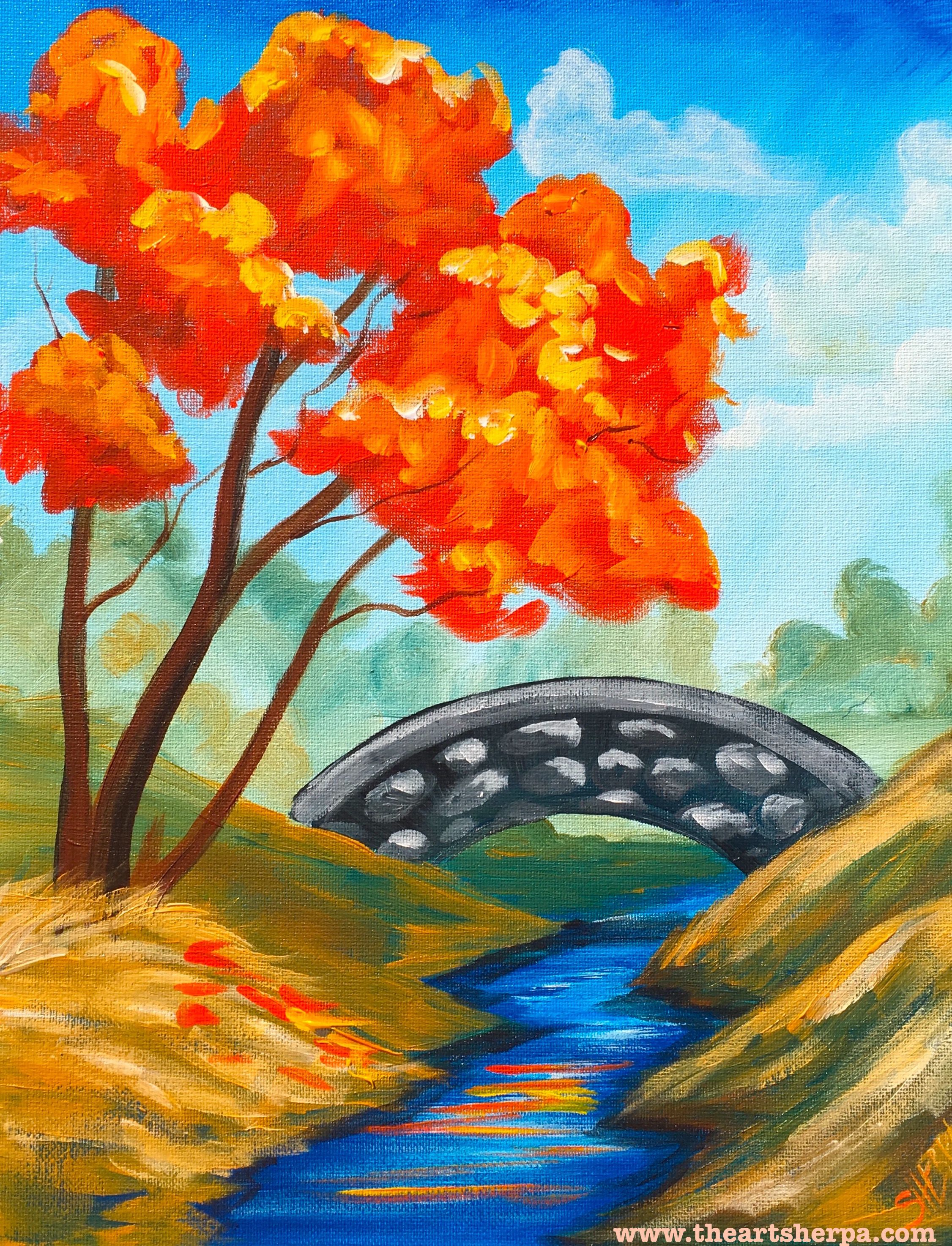 Fall Landscape With Stream And Stone Bridge In Acrylic Paint On Canvas Full Real Time LIVE Tutorial Simple Materials A VERY EASY