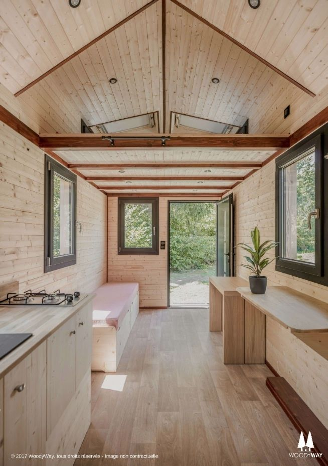 190 sq ft tiny cottage on wheels by woodyway pinterest. Black Bedroom Furniture Sets. Home Design Ideas