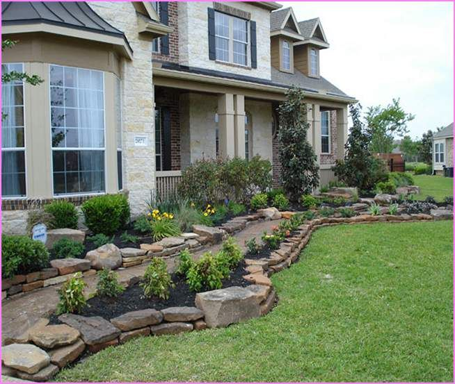 Landscaping ideas for front yard with rocks home design for Front garden stone ideas