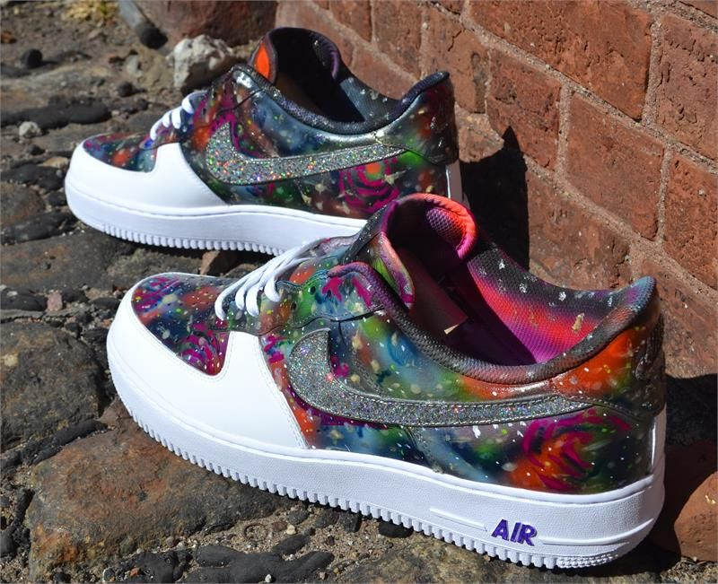 another chance f8564 3c470 Dark Galaxy Custom Air Force One Sneakers Painted Sneakers, Painted Shoes,  Custom Vans,