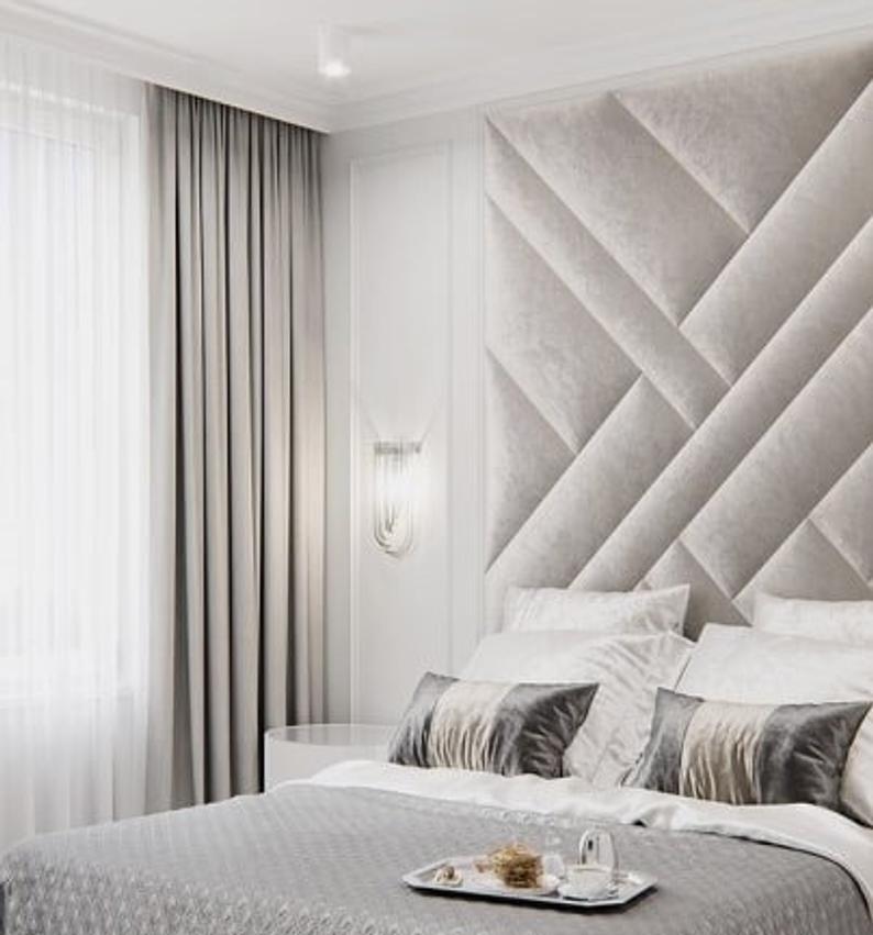 Upholstered Wall Panels Fully Customised Etsy In 2020 Upholstered Wall Panels Upholstered Walls Wall Panels Bedroom