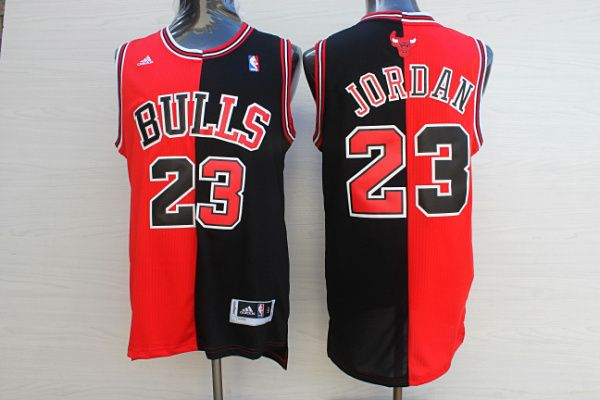 3ac629e71 NBA Chicago Bulls Men  23 Michael Jordan split jersey black red ...
