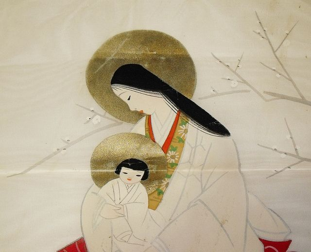 Mary + Jesus Antique Japanese Painting with Kosode by snowfoxcreations / snowfoxstock, via Flickr