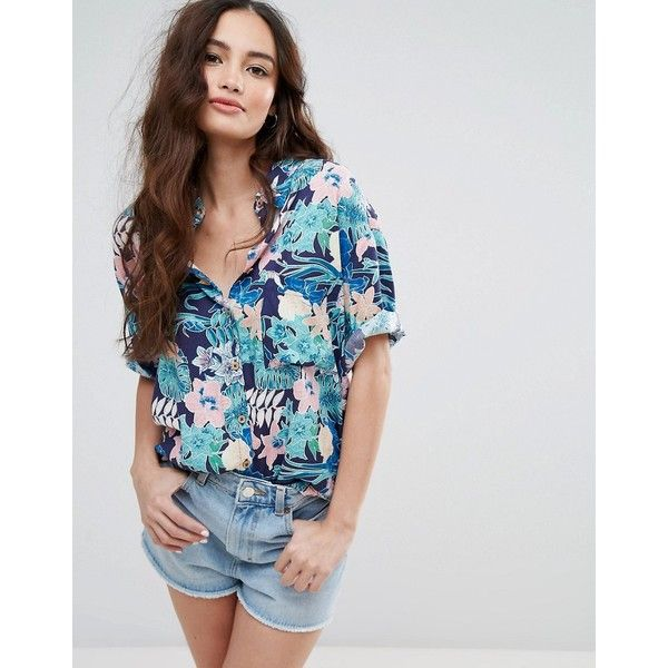 af9d7dcf Pull&Bear Tropical Print Boyfriend Shirt ($33) ❤ liked on Polyvore  featuring tops, navy, shirt top, tall shirts, navy blue top, tall hawaiian  shirts and ...