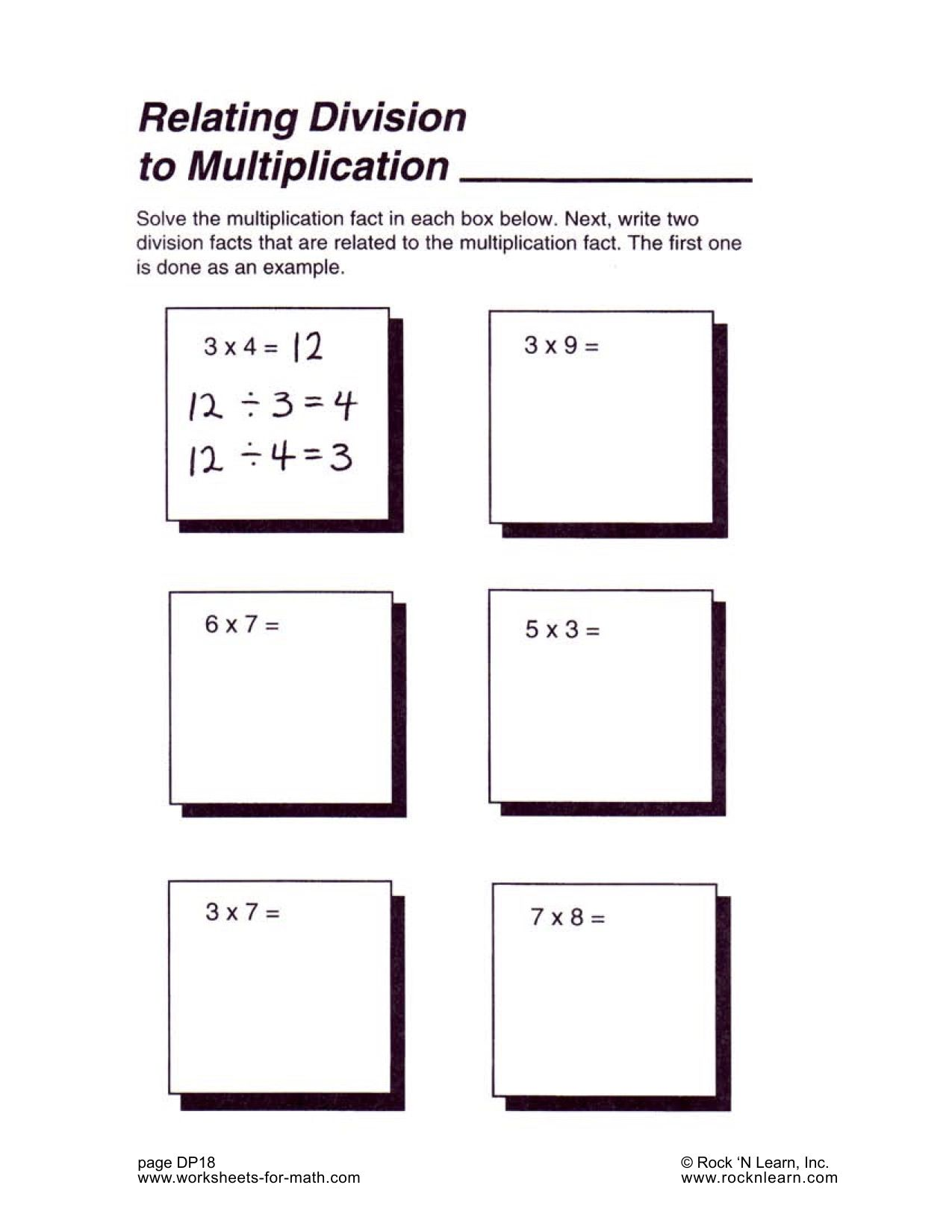 Printables Of Related Multiplication Facts Worksheet