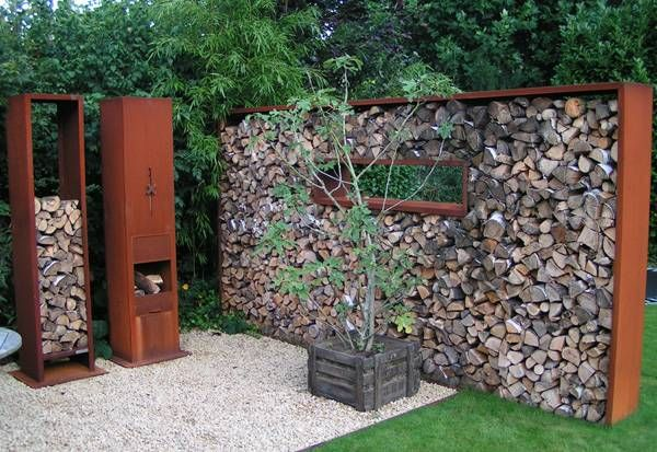 Stacked split wood wall, Cool outdoor stuff Pinterest - brennholz lagern ideen wohnzimmer garten