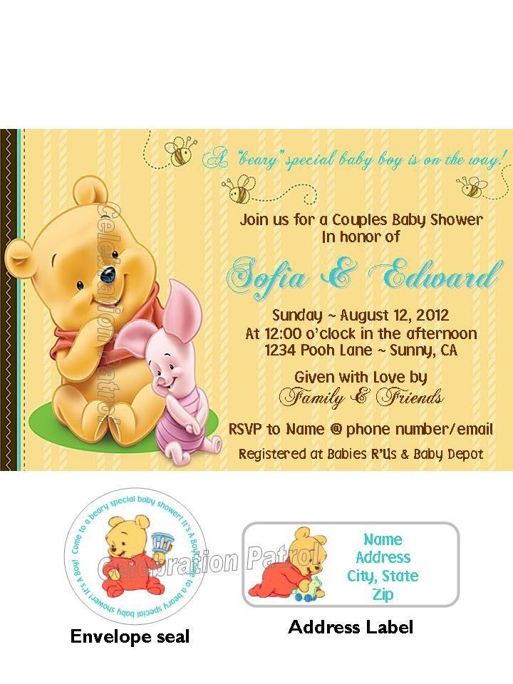 Winnie The Pooh Baby Shower Decorations Walmart : winnie, shower, decorations, walmart, Winnie, Theme, Custom, Shower, Invitations, W/address, Invitation, Wording,, Printable, Invitations,