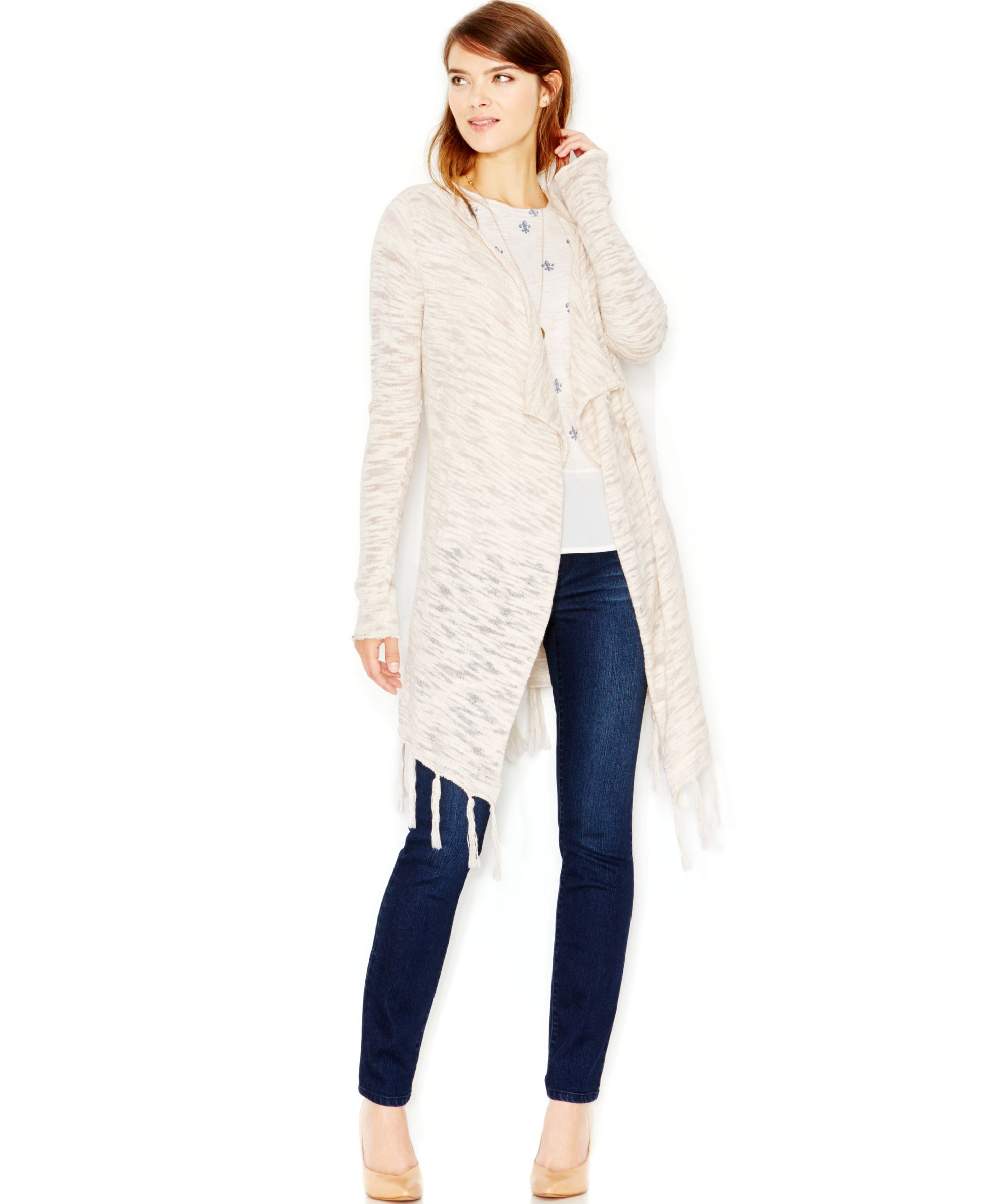 Maison Jules Hooded Fringe Cardigan, Only at Macy's | Products ...