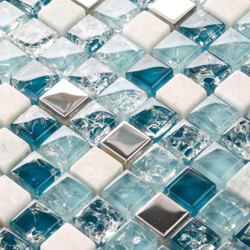Crackle Glass Stone Glass Mosaic Backsplash Tile Kitchen Bathroom Mirror Shower Wall Stickers Blue Metal S Plitka Dlya Vannoj Steklyannaya Plitka Mozaichnaya Plitka